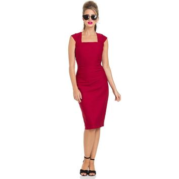 Lillian Pleated Red Pencil Dress