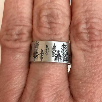 Winter Tree Ring, stamped wide tall aspen forest mountain aluminum sterling silver adjustable trees hiking climbing birthday gift for her