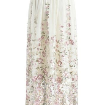 Lost in Secret Garden Embroidered Mesh Maxi Skirt