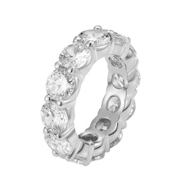Stainless Steel Designer Iced Out Prong Solitaire 14k White Gold Finish Ring Band