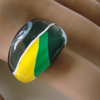 70s-80s Vintage Lucite Bubble Ring / Mod / Abstract / Green / Yellow / Blue / Jewelry / Jewellery