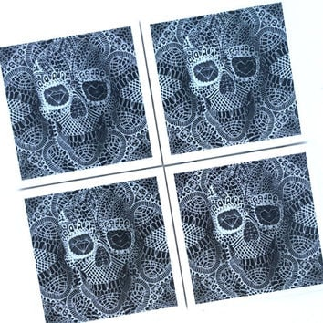 Drink Coaster, Lace Skull Coaster, Ceramic Coasters, 3D Skull Illustration, Man Cave, Black and White Skull, Halloween Home Decor, Ali Gulec