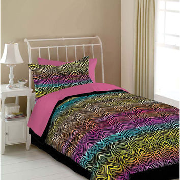 Veratex Hotel Indoor Bedroom Decorative Designer Duvet Accessories Rainbow Zebra Comforter Set Queen Rainbow