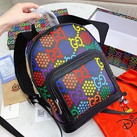 GUCCI Pop Candy Series Women Men Leather Daypack School Bag Backpack Shoulder Bag
