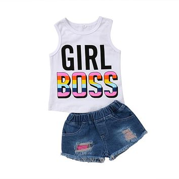 New Fashion Newborn Baby Kid Girls Clothes Print Letter Cotton Sleeveless Vest T-shirt Tops+Short Jean Pants 2Pcs