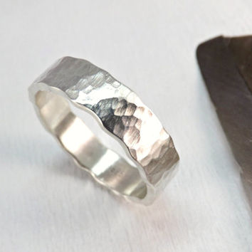 wave silver ring - silver ring with wavy edge - hammered ring silver - 4mm to 6 mm wide rustic mens ring rustic wedding ring