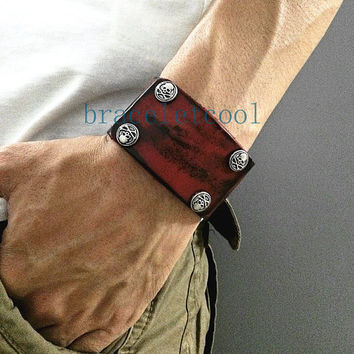 Rock Punk Style Real Leather Skull Bracelet Women Leather Cuff Bracelet, Men Bangle Cuff  Jewelry Bangle RC17