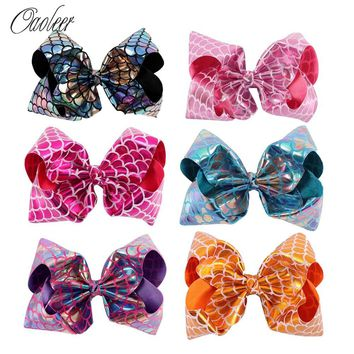 "6Pcs/lot 7"" Mermaid Hair Bow Hair Clips Girls Glitter Metallic Bows For Kids Cosplay Mermaid Bows DIY Hair Accessories"