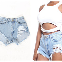 """NEW Style Custom Made Destroyed """"Della Dukes"""" High Waist  Frayed Shorts xS S M L Plus Sizes"""