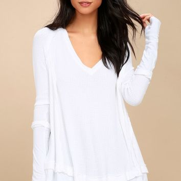 Laguna White Thermal Long Sleeve Top