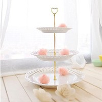 "3 Tier 12.6"" Cake Stand Heart Plate Centre Handle Fitting Hardware Rod,Golden"