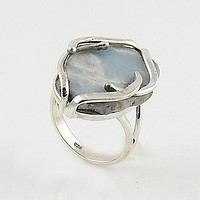 Angelite Rough Sterling Silver Ring