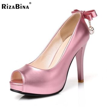 RizaBina Size 31-43 Open Toe High Heel Shoes Women Back Bowknot Crystal Spike Heel Pumps Party Wedding Fashion Platform Footwear