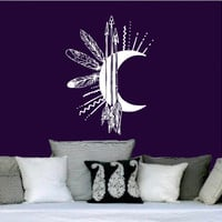 Wall Decals Vinyl Sticker Art Home Decor Moon Arrows Feathers Night Symbol Crescent Bedroom SV6030