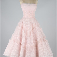 Vintage Inspired Strapless Soft Pink Short Prom Evening Dress
