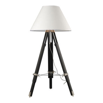 Studio Floor Lamp in Chrome And Black with Woven Linen Shade