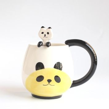 Hand-painted Coffee Cup,Cartoon Lovely Chinese Panda/Frog/Cat/Pig Ceramic Mug Tea cup include spoon