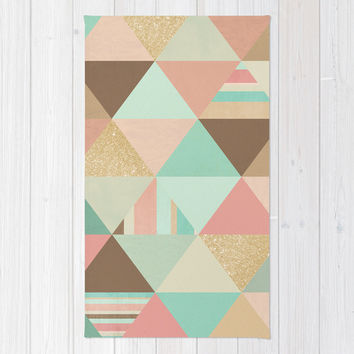 Peach, Mint and Gold Triangles Rug by Noonday Design