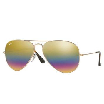 Kalete Ray Ban RB3025 9020/C4 58mm Bronze Copper Gold Rainbow Flash Aviator Sunglasses