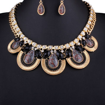 Black Stone Chunky Chain Statement Necklace And Earrings