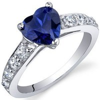 Dazzling Love 1.75 Carats Created Blue Sapphire Ring in Sterling Silver Rhodium Nickel Finish Size 5
