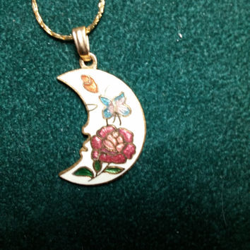 Cloisonne Half Moon with Butterfly and Flower Gold Tone Necklace