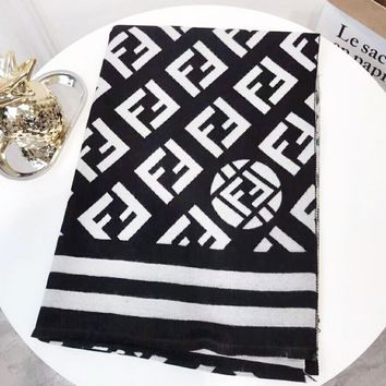 Fendi Autumn And Winter New Fashion More Letter Comfortable Warm Scarf Women Black
