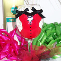 Bachelorette Party Sexy Red and Black Corset Lingerie Hand Painted Wine Glass
