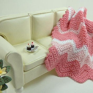 Dollhouse Miniatures, Artisan Dollhouse, Pink Chevron, Ripple Afghan, 1:12 Scale, Crochet Blanket, Bed Cover, Dolls House, Girls, Doll Throw