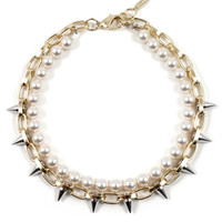 Lost Innocence Short Spike Necklace with Cream Pearls - Gold/ Silver Spikes/ Cream Pearls