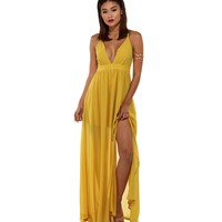 Nora Mustard Chiffon Maxi Dress