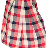 Sexy Red Blue Plaid Print Front Pocket Pleated Skirt