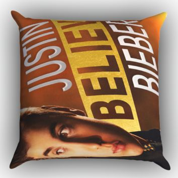 Justin Bieber Believe Zippered Pillows  Covers 16x16, 18x18, 20x20 Inches