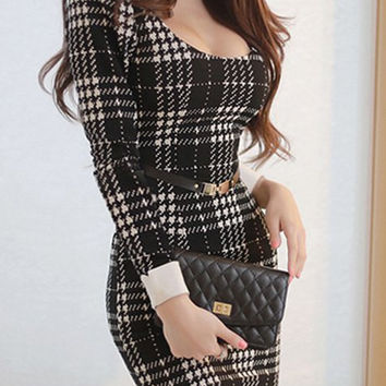 Black Plaid Long Sleeve Bodycon Dress