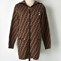 FENDI Autumn Winter Newest Popular Women Casual Double F Letter Hooded Zipper Cardigan Jacket Coat Coffee
