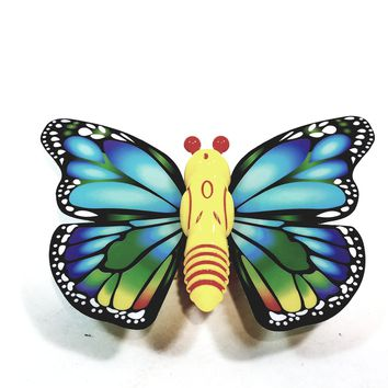"""Cute Insect Blue & Green Wing Mini Yellow Butterfly Moving 5.15"""" Wingspan Wind Up Plastic Figure Toy"""