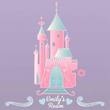 Pink Disney Princess Castle Wall Accent Decal with Alphabet
