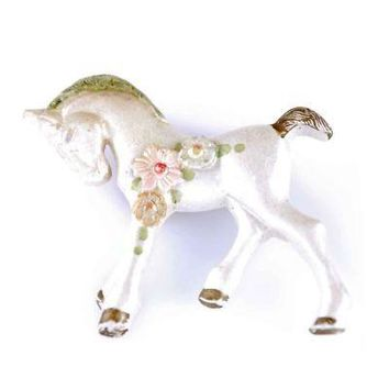 Vintage Horse Pin White Celluloid Pony  Whimsical 1930'S