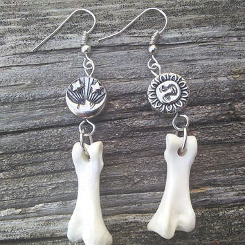 Bone Earrings, Sun, Cresent Moon And Stars jewelry,  Turkey Toe Bone Earrings , Real Animal Bone Jewelry, Boho  Jewelry ,Gypsy Jewelry