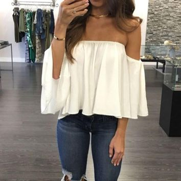 Fashion Women's Ladies Summer Lace Off-shoulder Casual Blouses Tops Shirt