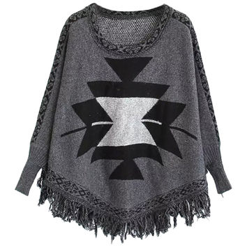 Geometric Pattern Batwing Tasseled Sweater