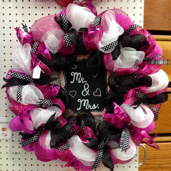 Mr & Mrs deco mesh wreath