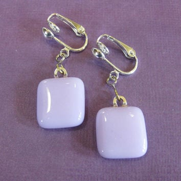 Spring Violet Light Purple Clip on Dangle Earrings - Jewelry by mysassyglass on Etsy