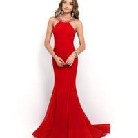 Blush Prom Valentine Red Beaded Sequin High Neck Low Back Netted Gown Prom 2015