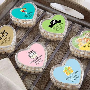 Heart Favor Container - Birthday (Set Of 12) (Available Personalized)