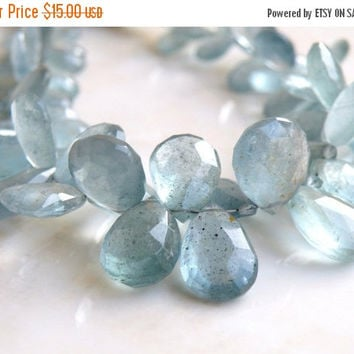 47% Off Incredible Moss Aquamarine Gemstone Faceted Briolette Icy Blue Teardrop 12.5 and 13.5mm 2 pairs matched
