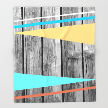 Colors On Monochrome Wood Throw Blanket by ARTbyJWP