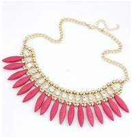 Beautiful Pink Turquoise Beaded with Crystal Statement Beaded Fashion Gold Tone Necklace