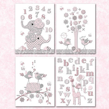 Nursery decor pink grey abc artwork numbers wall decoration baby girl room elephants poster educational art mathematics maths back to school