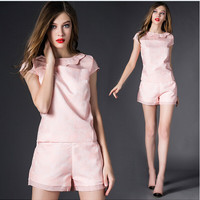 Pink Cap-Sleeve Shirt With Paired Shorts